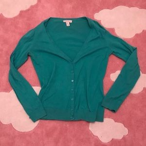 Green forever 21 button down sweater/cardigan